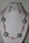 "+MBAHB #00013-8603  ""One Of A Kind Pink & Silver Bead Necklace & Earring Set"""
