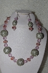 "+MBAHB #00013-8598  ""One Of A Kind Pink & Silver Bead Necklace & Earring Set"""
