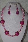 "+MBAHB #00013-8588  ""One Of A Kind Pink Bead Necklace & Earring Set"""