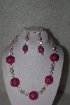 "+MBAHB #00013-8578  ""One Of A Kind Pink & Clear Bead Necklace & Earring Set"""