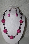 "+MBAHB #00013-8573  ""One Of A Kind Pink & Black Bead Necklace & Earring Set"""