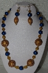 "+MBAHB #00013-8568  ""One Of A Kind Gold & Blue Bead Necklace & Earring Set"""
