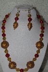 "+MBAHB #00013-8563  ""One Of A Kind Gold & Red Bead Necklace & Earring Set"""