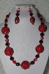 "+MBAHB #00013-8558  ""One Of A Kind Red & Black Bead Necklace & Earring Set"""