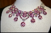 MBA #FP-ABC  Fancy Pink & Aurora Borealis Crystal Necklace
