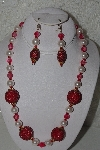 "+MBAHB #00013-8553  ""One Of A Kind Red & Pink Bead Necklace & Earring Set"""