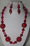 "+MBAHB #00013-8544  ""One Of A Kind Red Bead Necklace & Earring Set"""