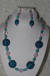 "+MBAHB #00013-8491  ""One Of A Kind Blue & Pink Bead Necklace & Earring Set"""