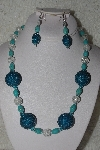 "+MBAHB #00013-8501  ""One Of A Kind Blue & Clear Bead Necklace & Earring Set"""
