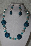 "+MBAHB #00013-8506  ""One Of A Kind Blue & Pale Pink Bead Necklace & Earring Set"""