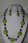 "+MBAHB #00013-8512  ""One Of A Kind Green & Clear Bead Necklace & Earring Set"""