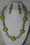 "+MBAHB #00013-8518  ""One Of A Kind Lime Green Bead Necklace & Earring Set"""