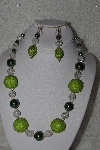"+MBAHB #00013-8523  ""One Of A Kind Green & Clear Bead Necklace & Earring Set"""