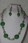 "+MBAHB #00013-8528  ""One Of A Kind Green & Pink Bead Necklace & Earring Set"""