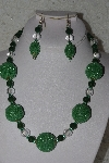 "+MBAHB #00013-8533  ""One Of A Kind Green & Clear Bead Necklace & Earring Set"""
