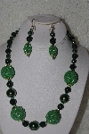 "+MBAHB #00013-8538  ""One Of A Kind Green Bead Necklace & Earring Set"""