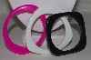 "**MBAHB #00014-8821  ""Set Of 3 Mulitple Shaped Acrylic Bangle Bracelets"""