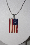 "**MBAHB #00014-8809  ""Beautidul Enameled America Flag Pendant With 18"" Chain"""