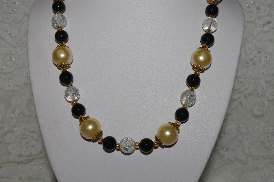 "MBAHB #00014-8726  ""One Of A Kind Gold, Clear & Black Glass Bead Necklace & Earring Set"""