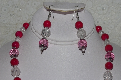 "MBAHB #00014-8715  ""One OF A Kind Pink,Red & Clear Bead Necklace & Earring Set"""