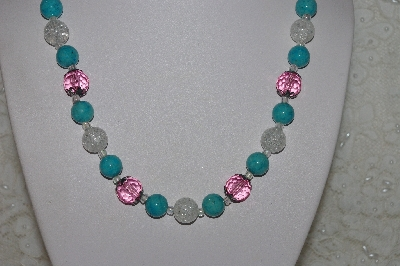 "MBAHB #00014-8707  ""One OF A Kind Pink, Clear & Blue Bead Necklace & Earring Set"""