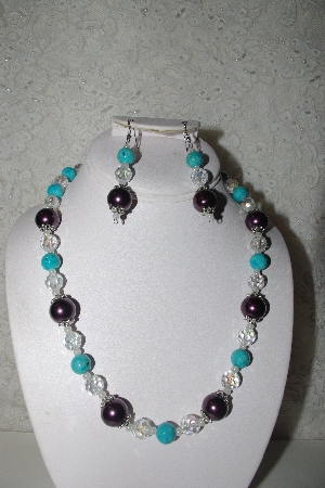 "MBAHB #00014-8692  ""One Of A Kind Purple, Blue & Clear Bead Necklace & Earring Set"""