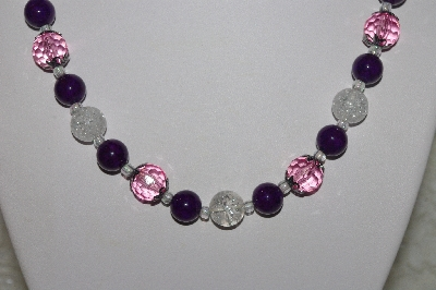 "MBAHB #00014-8682  ""One Of A Kind Pink, Clear & Purple Bead Necklace & Earring Set"""