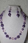 "MBAHB #00014-8672  ""One Of A Kind Lavender & Pink Bead Necklace & Earring Set"""