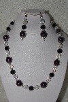 "MBAHB #00014-8662  ""One Of A Kind Purple, Black & AB Bead Necklace & Earring Set"""