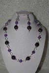 "MBAHB #00014-8657  ""One Of A Kind Purple, Lavender And AB Bead Necklace & Earring Set"""