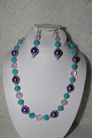 "*MBAHB #00014-8652  ""One Of A Kind Lavender, Blue & Pink Bead Necklace & Earring Set"""