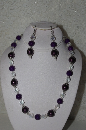"MBAHB #00014-8647  ""One Of A Kind Purple & AB Bead Necklace & Earring Set"""
