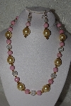 "MBAHB #00014-8636  ""One Of A Kind Gold, Clear & Pink Bead Necklace & Earring Set"""