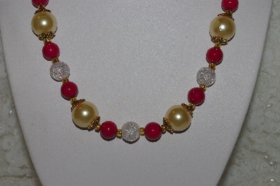 "MBAHB #00014-8797  ""One OF A Kind DK Rose Pink,Gold & Clear Bead Necklace & Earring Set"""