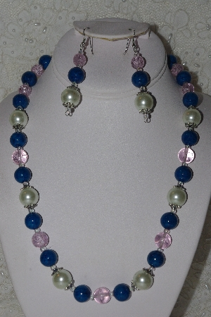 "MBAHB #00014-8792  ""One Of A Kind Pink, Blue & Cream Bead Necklace & Earring Set"""