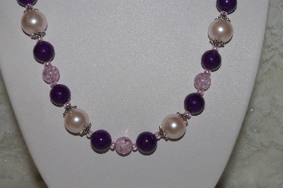 "MBAHB #00014-8787  ""One Of A Kind Pink & DK Purple Bead Necklace & Earring Set"""