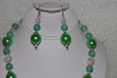 "MBAHB #00014-8772  ""One Of A Kind Green & Clear Bead Necklace & Earring Set"""