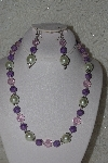 "MBAHB #00014-8767  ""One Of A Kind Pink,Lavender & Cream Bead Necklace & Earring Set"""
