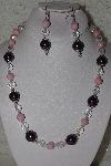 "MBAHB #00014-8757  ""One Of A Kind Pink & Purple Bead Necklace & Earring Set"""