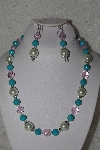 "MBAHB #00014-8752  ""One Of A Kind Pink,Blue & Cream Colored Bead Necklace & Earring Set"""