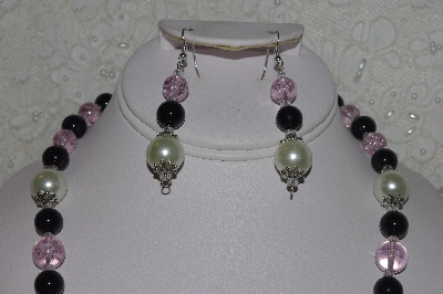 "MBAHB #00014-8746  ""One Of A Kind Black, Pink & Cream Bead Necklace & Earring Set"""