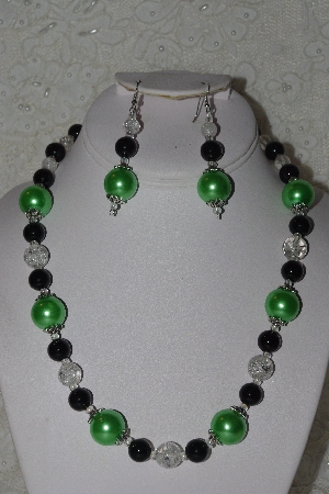 "MBAHB #00014-8736  ""One Of A Kind Green, Black & Clear Bead Necklace & Earring Set"""
