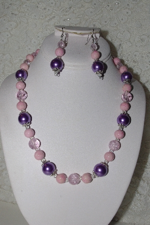 "MBAHB #00014-8731  ""One Of A Kind Lavender & Pink Bead Necklace & Earring Set"""