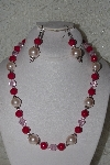 "MBAHB #00014-8782  ""One Of A Kind Pink Bead Necklace & Earring Set"""