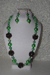 "+MBAHB #00015-8975  ""One Of A Kind Green & Brown Bead Necklace & Earring Set"""