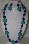 "+MBAHB #00015-8969  ""One Of A Kind Blue Bead Necklace & Earring Set"""