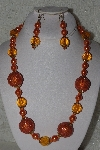 "+MBAHB #00015-8945  ""One Of A Kind Orange Bead Necklace & Earring Set"""