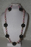 "+MBAHB #00015-8939  ""One Of A Kind Cream, ,Pink & Brown Bead Necklace & Earring Set"""