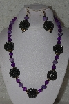 +MBAHB #00015-8932  One Of A Kind Purple & Brown Bead Necklace & Earring Set""