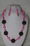 "+MBAHB #00015-8926  ""One Of A Kind Pink & Brown Bead Necklace & Earring Set"""